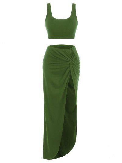 2pcs Marled Tank Top And Twist High Slit Skirt With Briefs - Green M