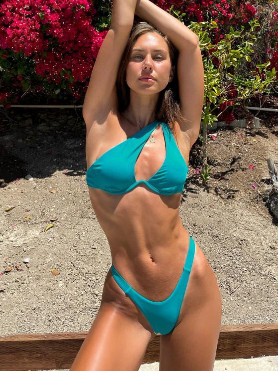 Brit Manuela x ZAFUL One Shoulder Ribbed Underwire Thong Bikini Swimwear - أزرق S