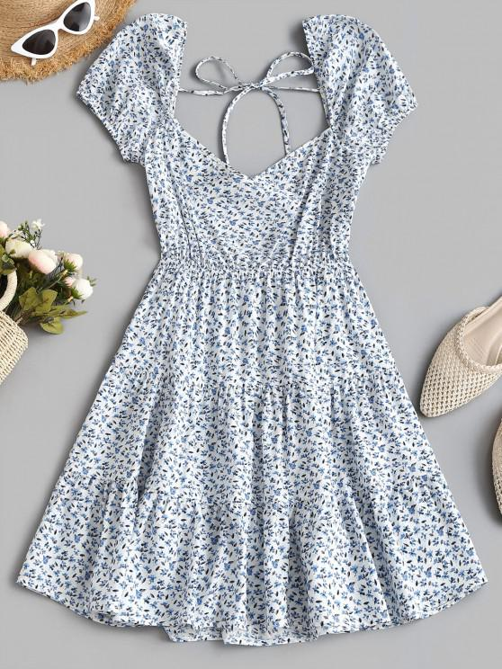 chic ZAFUL Tiny Floral Print Puff Sleeve Backless Tied Dress - LIGHT BLUE S
