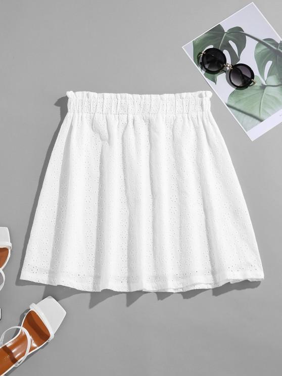 ZAFUL Mini Falda con Volantes Broderie Anglaise - Blanco S