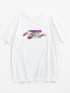 ZAFUL Camiseta Básica Con Estampado De Mano - Blanco S