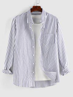 ZAFUL Striped Print Button Up Pocket Shirt - White M
