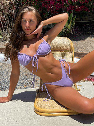 Brit Manuela X ZAFUL Ribbed Frilled Tie High Cut Thong Bikini Swimwear - Light Purple M