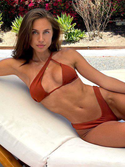 Brit Manuela X ZAFUL One Shoulder Ribbed Cutout High Leg Bikini Swimwear - Deep Red S