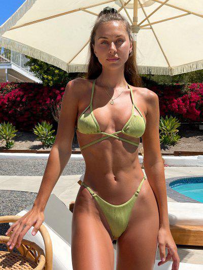 Brit Manuela X ZAFUL Crisscross Cutout Tied String Bikini Swimwear - Light Green S