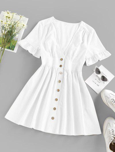 ZAFUL Button Front Plunge Ruffle A Line Dress - White S