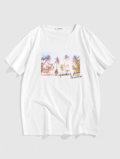 ZAFUL Palm Trees Letter Print Photograph T-shirt - White L