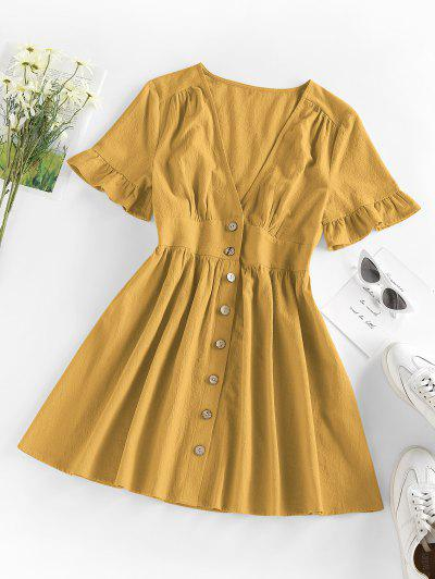 ZAFUL Button Front Plunge Ruffle A Line Dress - Deep Yellow M