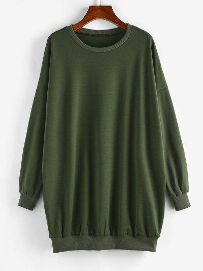 ZAFUL Plain Oversized Boyfriend Sweatshirt - Light Green S