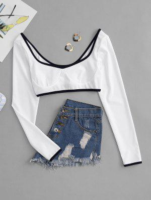 zaful Contrast Piping Corset Style Crop Tee