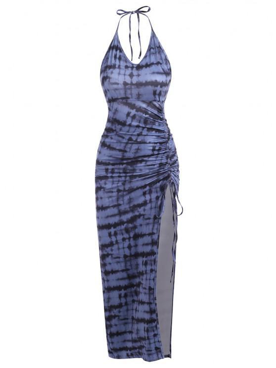 sale Tie Dye Cinched Split Long Bodycon Dress - DEEP BLUE S