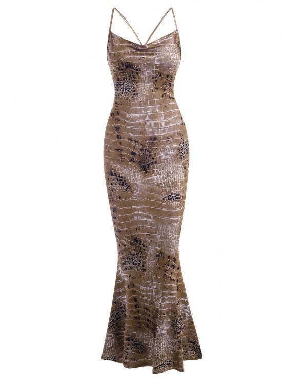 women Snake Print Cross Long Mermaid Dress - COFFEE S