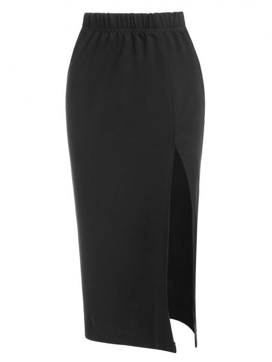 women Thigh Slit Midi Skirt - BLACK M