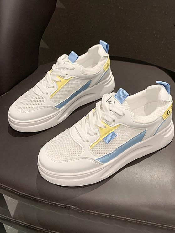 Lace-Up Color Contrast Mesh Spliced Sneakers - أزرق الاتحاد الأوروبي 38
