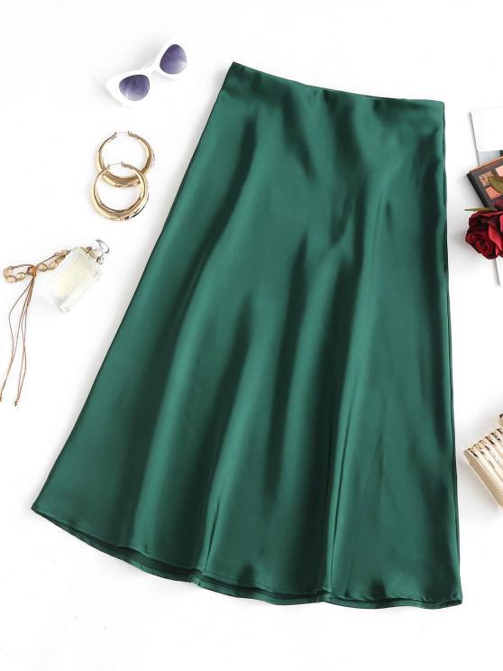 latest Silky Midi Slip Skirt - GREEN M