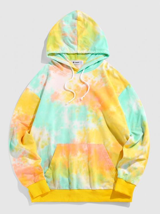 ZAFUL Tie Dye Print Kangaroo Pocket Hoodie - الأصفر S