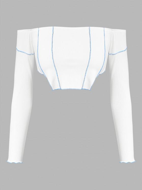 online ZAFUL Ribbed Off Shoulder Topstitching T Shirt - WHITE S