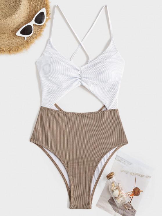 ZAFUL Badebekleidung mit Gerippten Hosenträgern und Rüschen - Licht Kaffee M