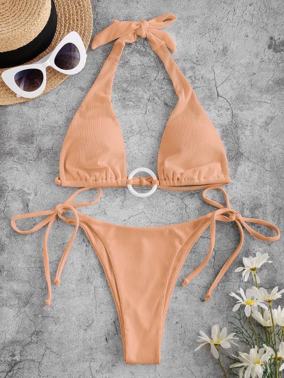 ZAFUL Ribbed Ring Tie Side Halter Bikini Swimwear - برتقالي فاتح L