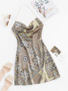 Bohemian Faux Pearl Halter Cowl Front Dress - Coffee S