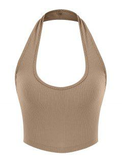 ZAFUL Ribbed Halter Backless Crop Top - Light Coffee S