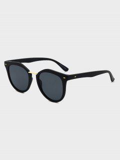 Round Metal Bar Sunglasses - Black