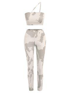 Ribbed Tie Dye Two Piece Matching Pants Set - Light Coffee S