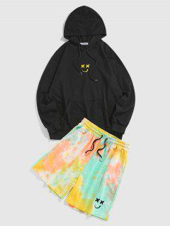 ZAFUL Cartoon Face Embroidered Hoodie And Tie Dye Print Shorts Set - Black Xl