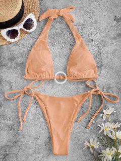 ZAFUL Ribbed Ring Tie Side Halter Bikini Swimwear - Light Orange L