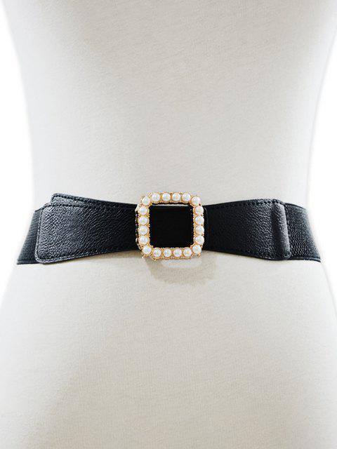 Künstliche Perlen Quadrat Gürtelschnalle - Schwarz  Mobile