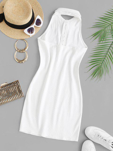Strickstreifen Neckholder Rippe Mini Bodycon Kleid - Weiß M Mobile