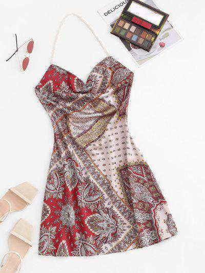 Bohemian Faux Pearl Halter Cowl Front Dress - Red M