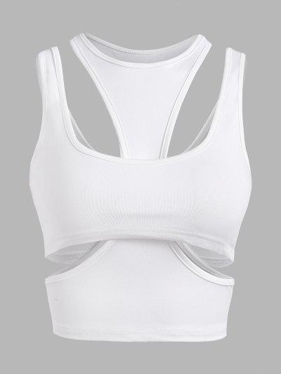 Cutout Layered Racer Crop Top - White M