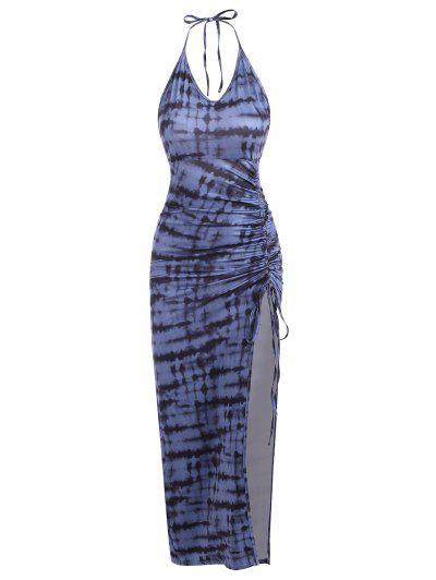Tie Dye Cinched Split Long Bodycon Dress - Deep Blue L