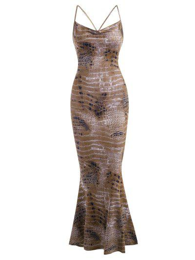 Snake Print Cross Long Mermaid Dress - Coffee M