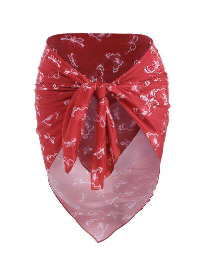 Strapless Silky Satin Butterfly Print Scarf Top - Red