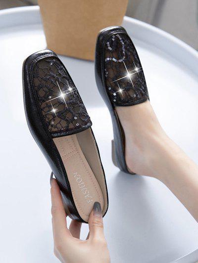 Sequins Lace Flat Mules Sandals - Black Eu 37