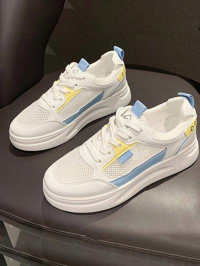 Lace-Up Color Contrast Mesh Spliced Sneakers - Blue Eu 39