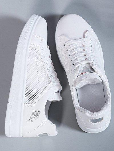 Lace-Up Rose Embroidery Mesh Spliced Sneakers - Silver Eu 38