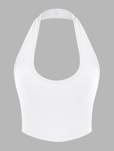 ZAFUL Ribbed Halter Backless Crop Top - White S