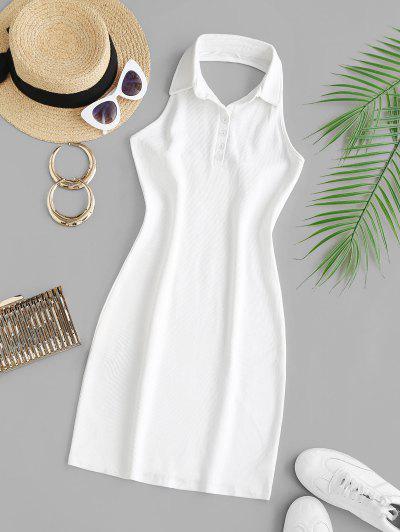 Collared Halter Rib-knit Slinky Bodycon Dress - White S