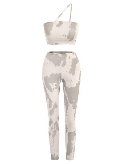 Ribbed Tie Dye Two Piece Matching Pants Set - Light Coffee M