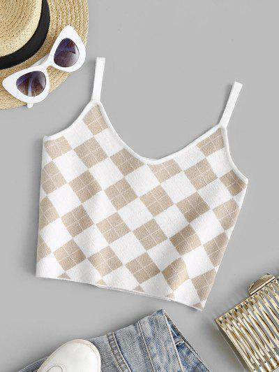 Cropped Argyle Graphic Knit Cami Top - Light Coffee S