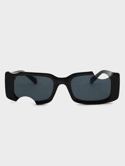 Irregular Notched Narrow Sunglasses - Black