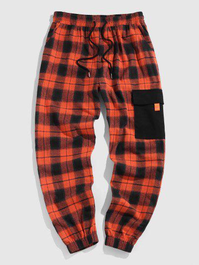 ZAFUL Plaid Contrasting Pocket Patched Pants - Dark Orange L