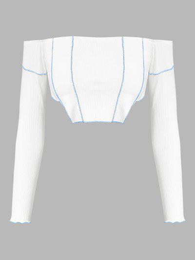 ZAFUL Ribbed Off Shoulder Topstitching T Shirt - White S
