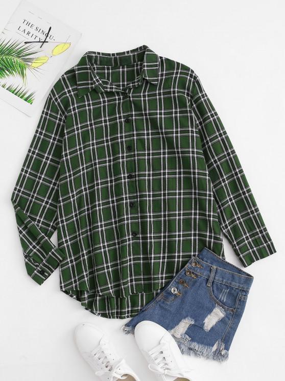 fancy Plaid Boyfriend Button Down Shirt - DEEP GREEN S