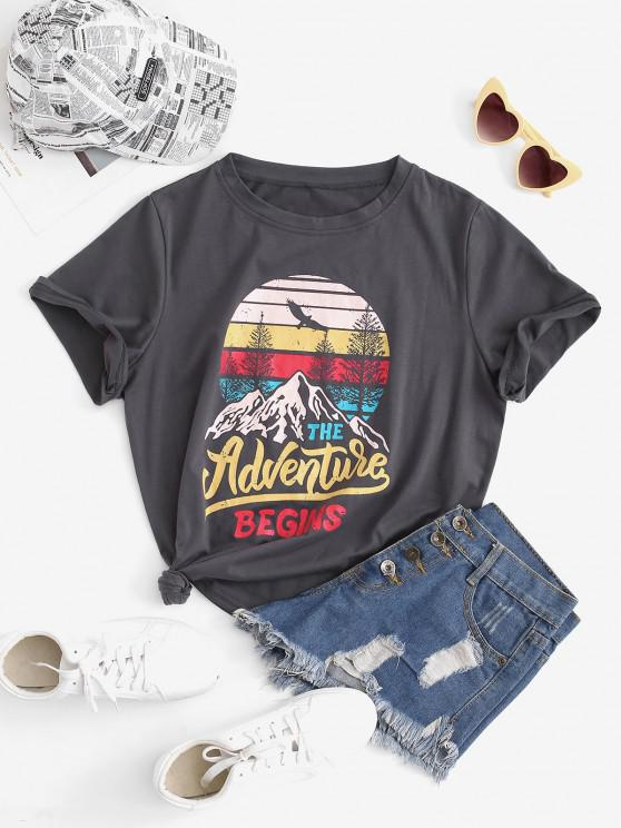 trendy Funny THE ADVENTURE BEGINS Graphic T-shirt - GRAY S