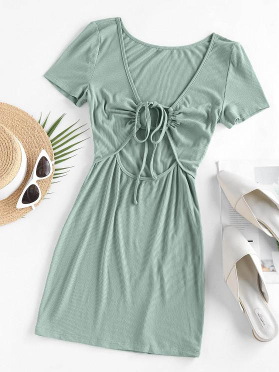 outfits ZAFUL Ribbed Tied Cutout Tee Dress - LIGHT GREEN S