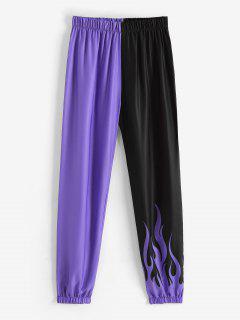 Two Tone Flame Jogger Pants - Purple Xl